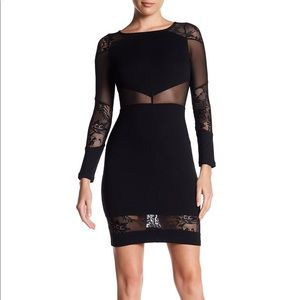French Connection Black Mesh and Lace Dress